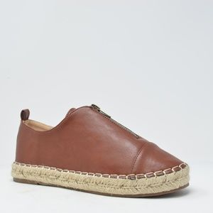 WOMEN COGNAC  ESPADRILLE SNEAKER WITH ZIPPER